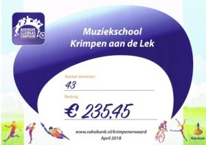 Cheque Rabobank Clubkascampagne 2018
